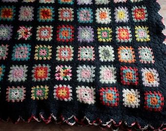 Vintage 1970's Crochet Blanket // 60's 70's Black Floral Knit Patchwork Blanket // Rainbow Patchwork Knit Bedspread