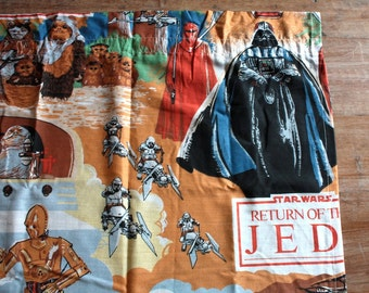 1983 Star Wars Curtain Panel // Return of the Jedi // 70s 80s Memorabilia // George Lucas Film Curtains // Star Wars Fabric