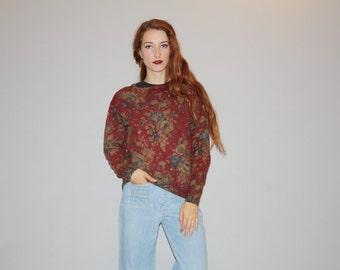 Designer Vintage 1980s Ralph Lauren Floral Rose Autumn Tapestry Lambs Wool Sweater  - Vintage Ralph Lauren  -  WT0502