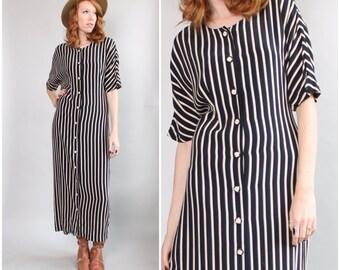 Vintage // One Size // 1990's Striped Minimalist Caftan / Maxi Dress