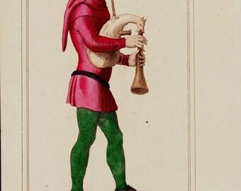Antique print, 1852 Antique MEN COSTUMES print. Musician clothing 15th century