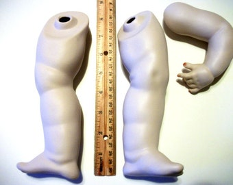 Bisque porcelain doll legs and left arm supply parts for making dolls