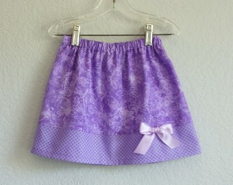 Purple and Lavender Skirt - Lavender Skirt with Dragonflies and Polka Dots - Girls Purple Clothing - Size 12m, 18m, 2t, 3t, 4t, 5, 6 or 7