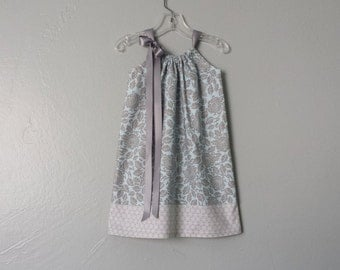 Girls Sky Blue and Grey Pillowcase Dress - Grey Flowers on Blue - Blue and Grey Floral Sun Dress - Size 12m, 18m, 2T, 3T, 4T, 5, 6, 8, or 10
