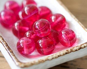 Vintage Glass Beads Art Glass Magenta Pink Swirls Beads 12mm