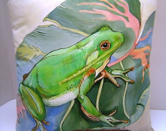 Tree Frog on Decorative Leaf - 14x14 - Hand Painted Pillow Accent - Summer Porch Pool Gazebo Resort - Southern Garden Frog Love