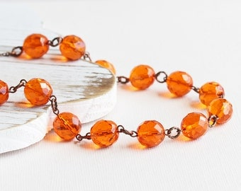 Orange Bead Necklace, Tangerine Orange Necklace, Antiqued Copper Plated Chain, Autumn Necklace, Faceted Glass Necklace, Fall Fashion Jewelry