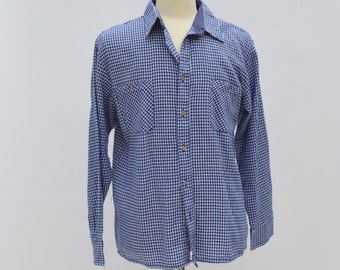 Small Gingham Check Blue Flannel Plaid Shirt 90s Vintage Men's Large 17 35 Button Up Long Sleeve