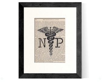NP Nurse Practitioner Caduceus over Vintage Medical Book Page - Nurse Graduation Gift, Nurse Gift, Nurse Practitioner Gift, NP Gift