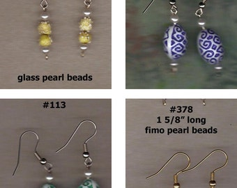 Destash Sale Fish Hook Earrings Pierced Mix Bead Glass Acrylic Metallic Recycled Jewelry Upcycled Your Choice Fashion Women Gift Party Favor
