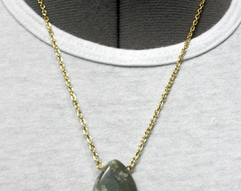 Necklace: Gorgeous Polished Ocean Jasper Stone Sculpted Teardrop Shape on Silver (or Custom) Chain Natural Sage Green and Cream to Lavender