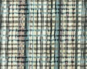 Brown Blue White Wavy Plaid Print, 1990s Vintage, Upholstery or Home Decor Fabric, Interior Fabric Design, Heavy Weight Cotton, half yard