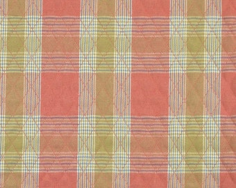 Salmon Pink PreQuilted Plaid, Home Decor or Craft Fabric, Tan, Blue, Cream, Heavy Weight Polyester, half yard, B18