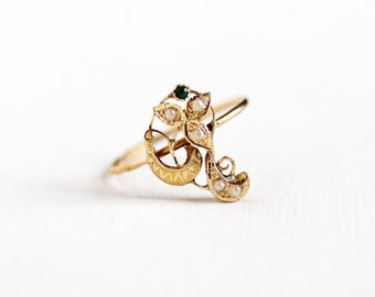 Sale - Antique Art Nouveau 14k Yellow Gold Flower Seed Pearl Ring - Size 7.5 Vintage Swirled Leaf Simulated Emerald Green Glass Fine Jewelry
