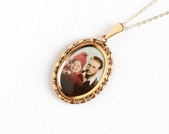 Vintage Art Deco Photographic Pendant Necklace - 1930s 1940s WWII Era Germany Old Stock Gold Filled Historical Father Baby Picture Jewelry