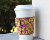 Coffee Cup Cozy - Plum and Chartreuse Party Streamer - Alison Glass - Reusable Coffee Sleeve -Cup Sleeve - Coffee Lover Gift - Shower Favor