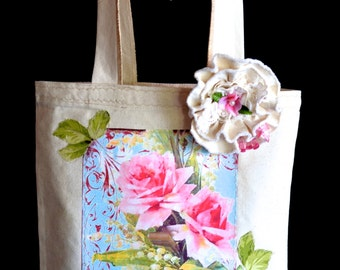 Tote Bag, Cream Cottage Chic, Shabby Tote Bag With Removable Cabbage Print Flower Pin