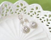 Crystal drop earings, rhinestone bridal earrings, filigree wedding earring, Swarovski crystal bridal dangle earings, vintage jewelry. SOPHIA