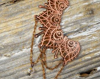 Delicate Mehdi Broken Circle Necklace, Hand Engraved & Mehndi Inspired Art To Wear Design - ReaganJuel: Reclaimed4