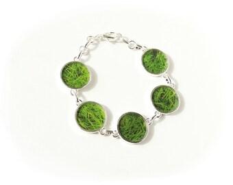 Green Grass Bracelet, Quirky Kitsch Bracelet, Botanical Jewelry, Chunky Bracelet, Green Jewellery, Resin Jewelry, Grass Jewellery,UK (1889)