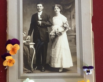 Antique  Wedding  Cabinet Photo - Man and Beautiful Woman of Sedelia Missouri by Latour - Marriage
