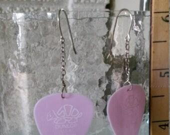 Dunlop Light Pink Guitar Pick dangle Earring