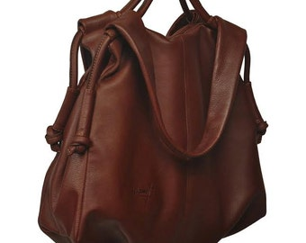 Leather slouchy  Handbag,shoulder bag,everyday bag, named Femme Fatale , in  Castagno brown  color MADE TO ORDER