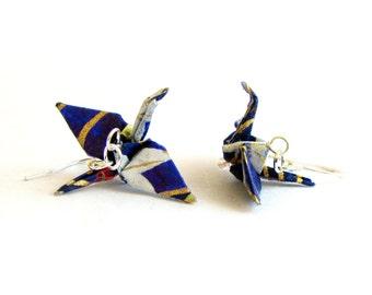 Origami Crane Earrings Dark Blue and White