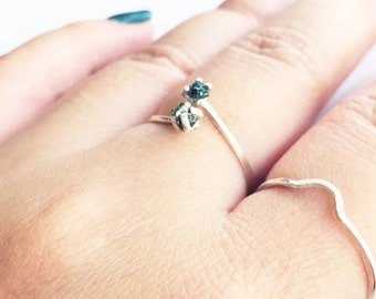 Blue Diamond Ring Sterling Silver Teardrop Open Style Cross Over Two Diamonds Rough Stone Raw Gem Prong Setting