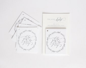 Sale: Letterpress Calligraphy Gift Tags, Oh By Gosh, By Golly, Set of 8