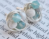 Frozen Series - Petite Wire Wrapped Silver Stud Earrings - Made with Blue Swarovski Crystal Beads, Gray Glass Pearl, and a Stardust Bead