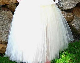Off White Tulle skirt. Light ivory tulle skirt. Tea length tulle skirt.