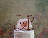 Personalized Initials Wedding Cake Topper with a HEART Accent, Custom Wedding Cake Decoration, Rustic Wedding, Wedding Cake Topper