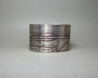 New York City NYC Upper West Side Cuff Bracelet Vintage Map Jewelry for Men or Women