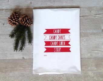 Christmas Tea Towel - Elf Candy Canes Holiday Kitchen Flour Sack Dish Cloth Funny Movie Rustic Minimalist Home Decor Cyber Monday Sale