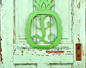 Pineapple Monogram- Holiday Trimmings™ Wooden Monogram Letter- Interlocking Script, Door Hanger Wreath- welcome sign, summer decor-unpainted