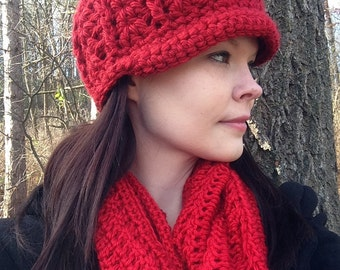 Womens Red Chunky Hat With Brim Thick Winter Beanie. Ready to ship. Beanie, Brimmed hat