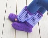Crochet Pattern for Women's Slipper, Crochet Boots Pattern, Crochet Slipper Pattern, US sizes 5-10, Claire Boots