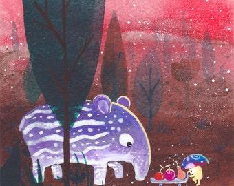 5x5 4x4 Tapir Print, Tapir Art - Baby Tapir