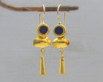 24 k Gold Earrings - Lapis Lazuli Earrings - Solid Gold & Lapis Lazuli Earrings