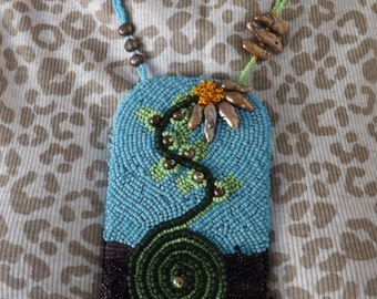 Spiral with Flower, bead embroidered pendant