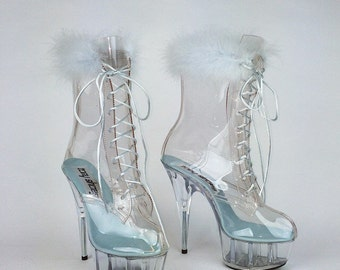 90's Clear Blue Feather Kawaii Angel Lace Up Ankle Boots with Clear Platforms // size 8