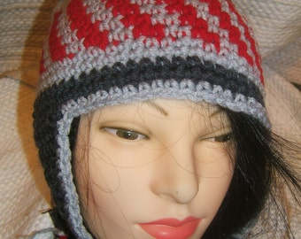 Scarlet and Gray and Charcoal Hand Crochet Winter Ear Flap Taboggen Hat