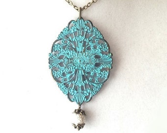 Teal Patina Filigree Diamond Pendant & White and Gold Dangle Long Bronze Necklace