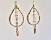 Aquamarine & Feather Gold Teardrop Earrings, Gypsy Bohemian Chic- Indira Boheme