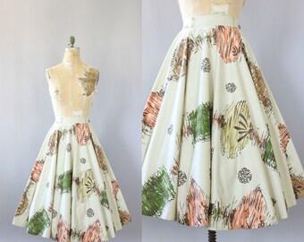 Vintage 50s Skirt/ 1950s Cotton Skirt/ Colorful Chinese Lantern Print Highwaisted Cotton Circle Skirt M