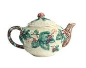 Majolica Teapot / Basketweave & Berry Pattern / Haldon Group / Mint Condition /  c1980s