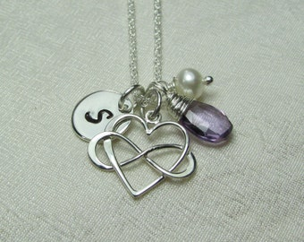 Initial Necklace Mothers Necklace Birthstone Necklace Personalized Infinity Necklace Sterling Silver Heart Monogram Necklace Initial Jewelry