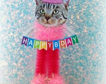 Tabby Cat Figure Keepsake Birthday Cake Topper OOAK