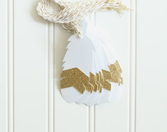 10 Die Cut Layered White and Gold Glitter Feather Gift Tags (4 x 1.5 inches) with Gold & White Metallic Baker's Twine